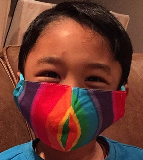 Child Cotton Face Mask - Shaped Rainbow Print