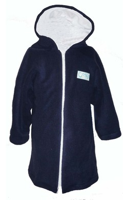 Boys Towelling Robe - Navy and white