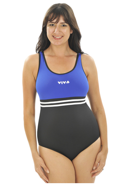 Viva One Piece - Black with Cobalt Bodice