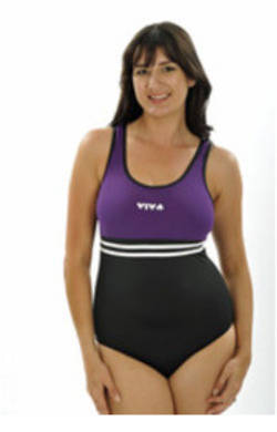 Viva One Piece - Black with Purple Bodice