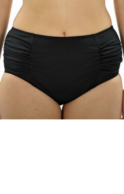 Full Briefs with Ruching - Black Chlorine Resistant