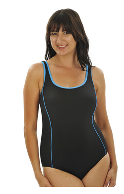 more on Chlorine Resist One Piece with Piping - Black teal Mastectomy