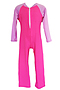 Photo of Girls Long Sleeve and Leg Bodysuit Zip Front - Pink CR