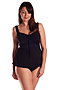Swing Gathered Tankini Top Black Chlorine Resistant