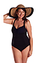 One Piece with Gathers Chlorine Resist Black
