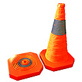 Collapsible Safety Cone Plastic Base 450mm Reflective